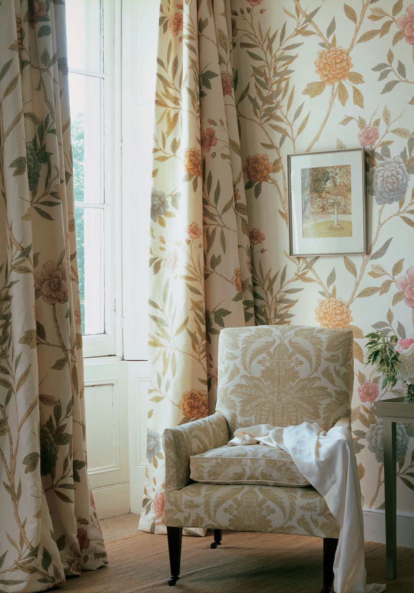 Feminine bedroom scheme using Lewis & Wood wallpaper and fabric