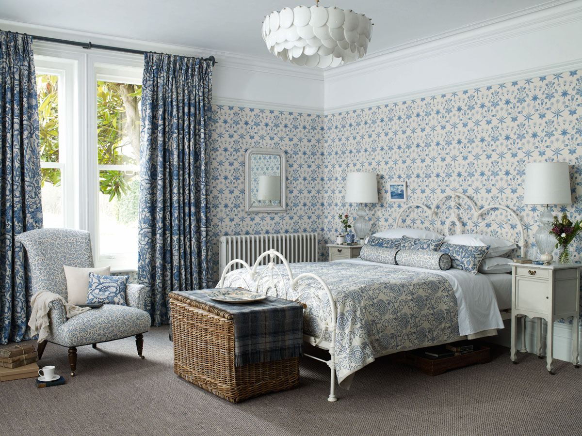 Feminine bedroom scheme using gorgeous Morris & Co fabrics and wallpapers