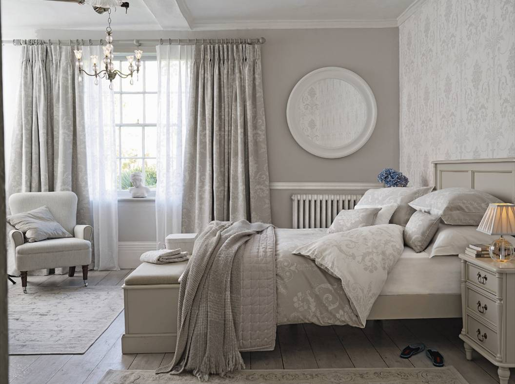 Neutral feminine bedroom scheme