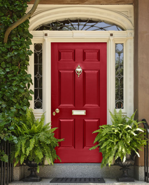 Colourful front door - red