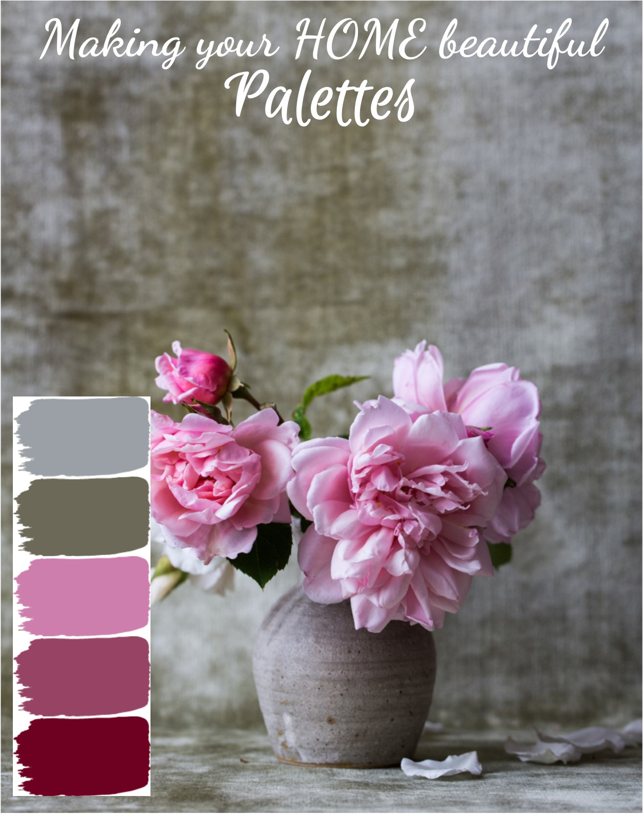 Let me show you how to use pink in an interior scheme. I love to find inspiration in nature - click through to see the colour names for this beautiful palette