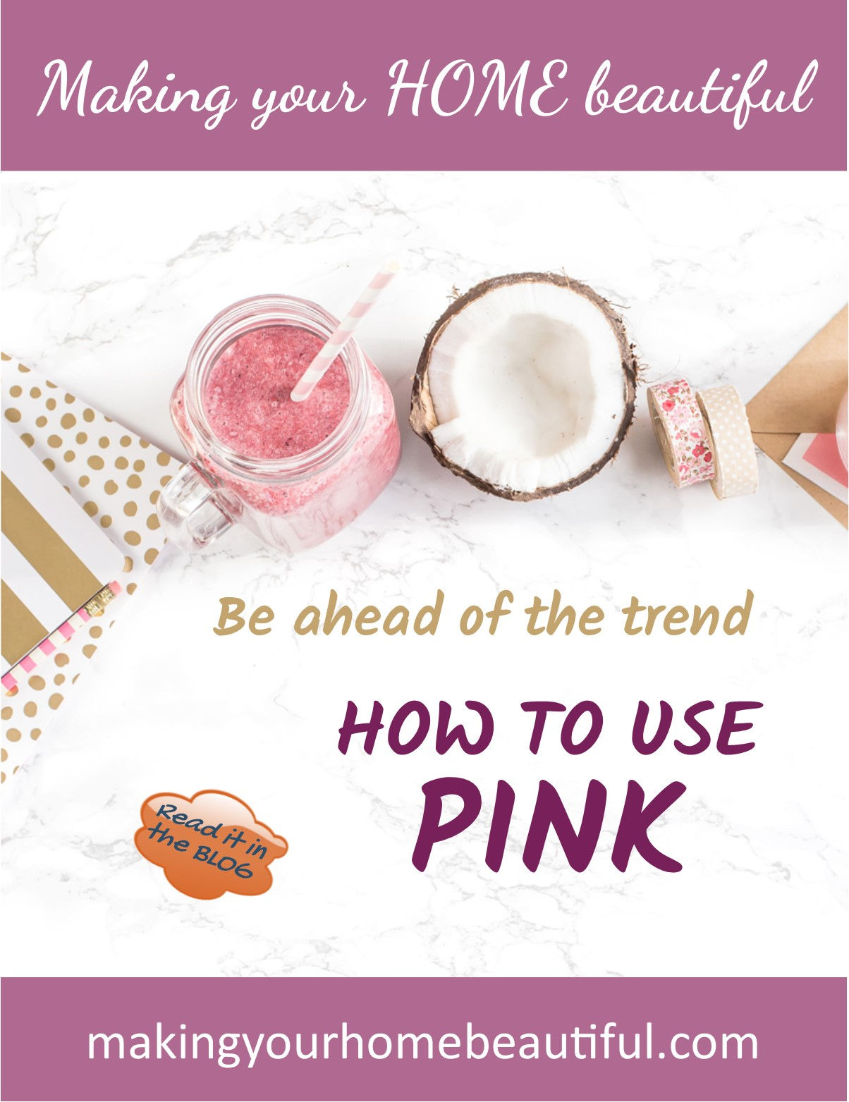 Let me show you how to use pink in an interior. A hot colour trend for 2017 - see the many ways to use it in my blog post